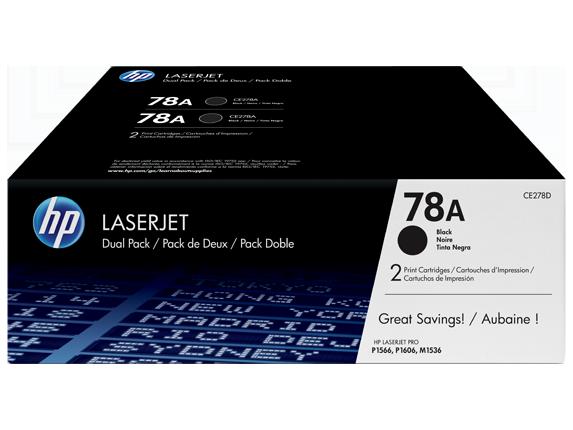 HP 78A 2-pack Black Original LaserJet Toner Cartridges, CE278D
