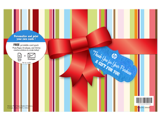 HP Free Holiday Gift Pack-10 sht/5 x 7 in with envelopes