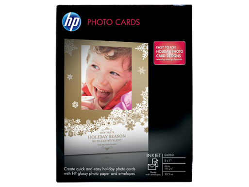 HP Glossy Photo Cards-10 sht/5 x 7 in with envelopes