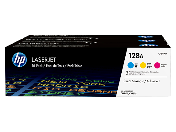 HP 128A 3-pack Cyan/Magenta/Yellow Original LaserJet Toner Cartridges, CF371AM