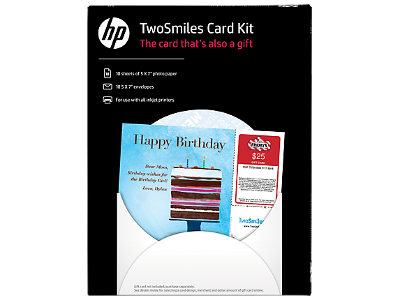 HP TwoSmiles Card Kit-10 sht/5 x 7-in with