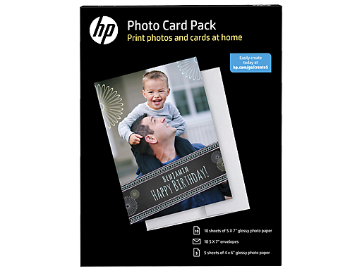 HP Photo Card Pack-5 sht/4 x 6 in and 10 sht/5 x 7 in with 10 envelopes