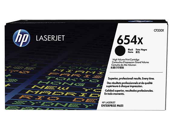 HP 654X High Yield Black Original LaserJet Toner Cartridge, CF330X