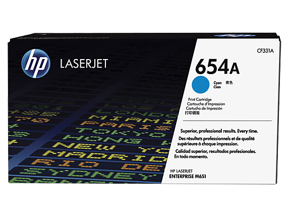 HP 654A Cyan Original LaserJet Toner Cartridge, CF331A