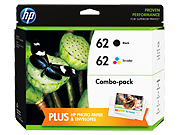 HP 62 Black/Tri-color Original Ink Cartridge Content Value Pack