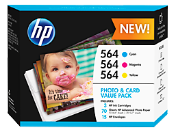 HP 564 Photo and Card Value Pack-50 sht/4 x 6 in and 10 sht/5 x 7 in