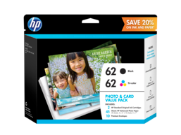 HP 62 Photo and Card Value Pack-30 sht/4 x 6 in and 15 sht/5 x 7 in