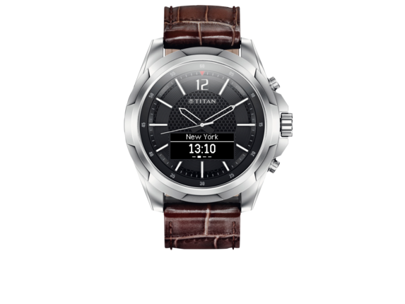 Titan Smartwatch Stainless with Brown Strap