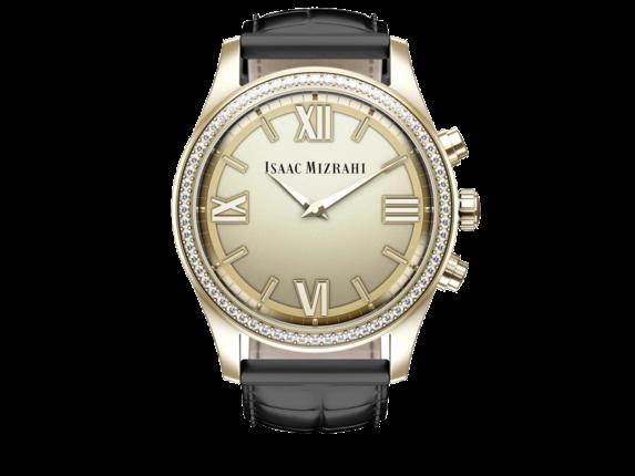 Isaac Mizrahi Gold Smartwatch Black Strap