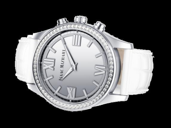 Isaac Mizrahi Silver Smartwatch White Strap