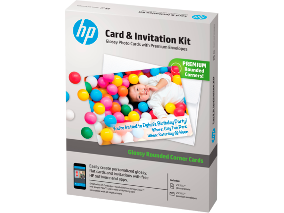 HP Card and Invitation Kit-25 sht/5 x 7 in with envelopes