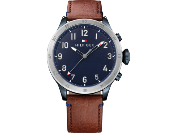 Tommy Hilfiger TH24/7 Smart Watch - Stainless Navy Brown Strap