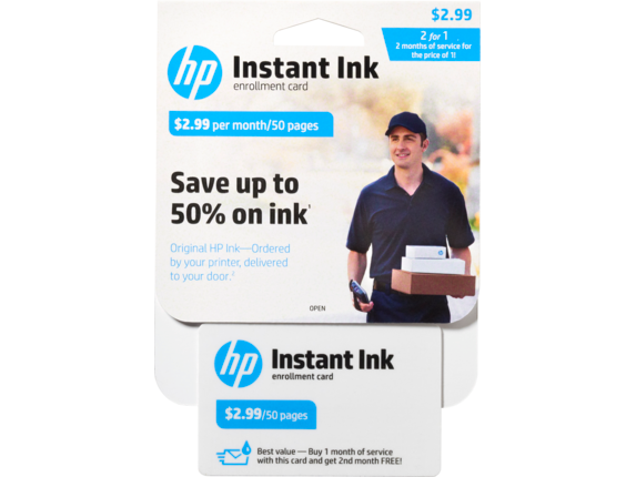 HP Instant Ink Enrollment Card - 50 page plan