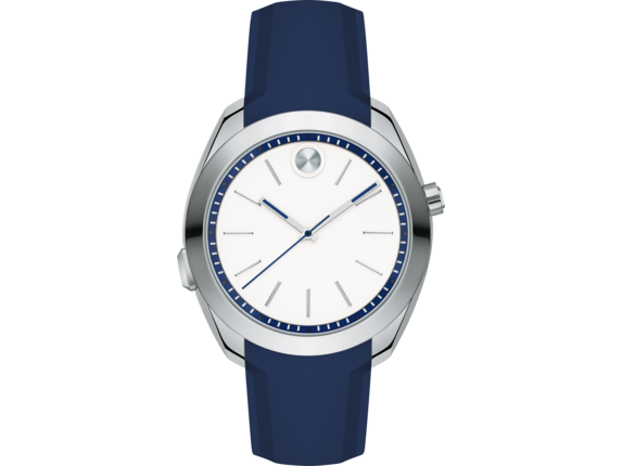 Movado BOLD Motion Woman's - Steel/Navy Silicone Strap