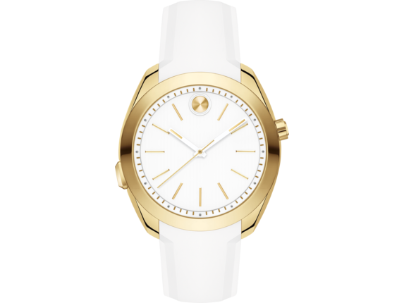 Movado BOLD Motion Woman's - Gold-toned/White Silicone Strap
