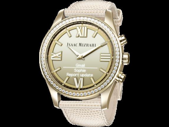 Isaac Mizrahi Gold Smartwatch Cream Lizard Strap