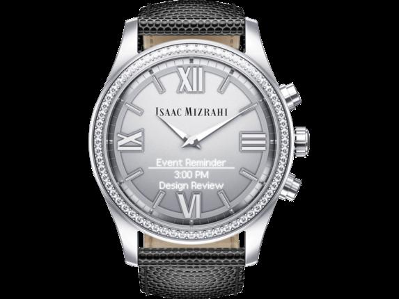 Isaac Mizrahi Silver Smartwatch Grey Lizard Strap