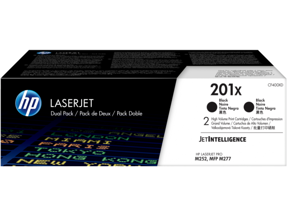HP 201X 2-pack High Yield Black Original LaserJet Toner Cartridges