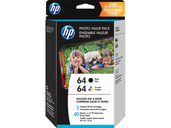 HP 64 Black/Tri-color Photo Value Pack-40 sht/4 x 6 in