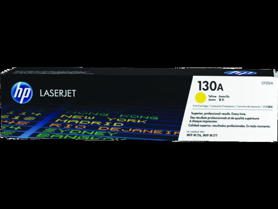 HP 130A Yellow Original LaserJet Toner Cartridge, CF352A