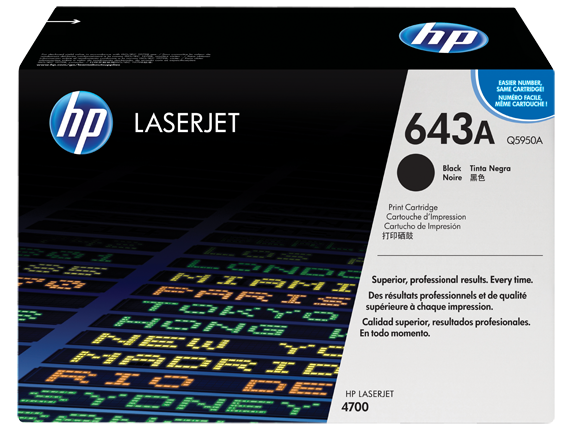 HP 643A Black Original LaserJet Toner Cartridge, Q5950A