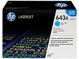 HP 643A Cyan Original LaserJet Toner Cartridge, Q5951A