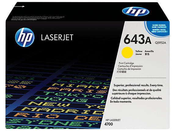 HP 643A Yellow Original LaserJet Toner Cartridge, Q5952A