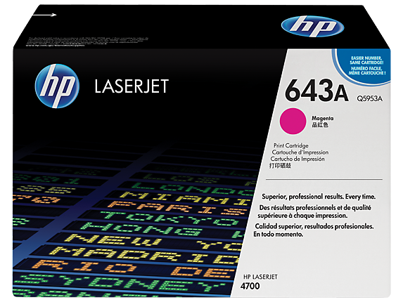 HP 643A Magenta Original LaserJet Toner Cartridge, Q5953A