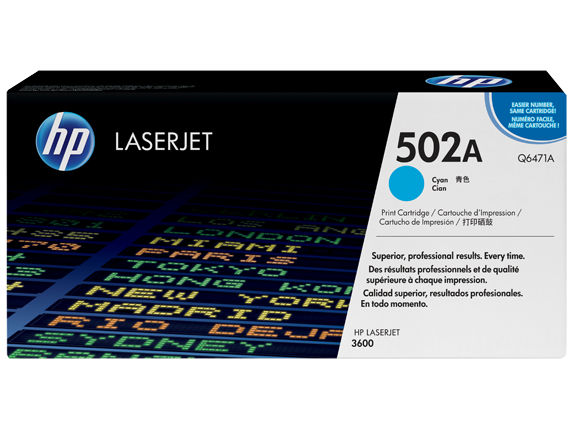 HP 502A Cyan Original LaserJet Toner Cartridge, Q6471A