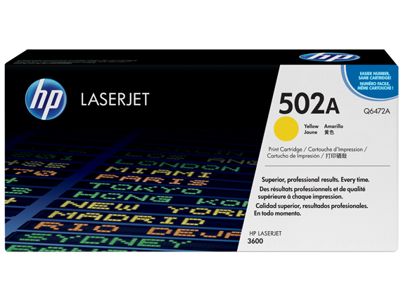 HP 502A Yellow Original LaserJet Toner Cartridge, Q6472A