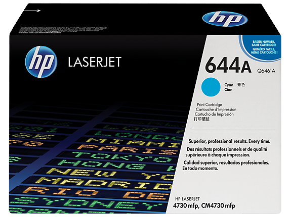 HP 644A Cyan Original LaserJet Toner Cartridge, Q6461A