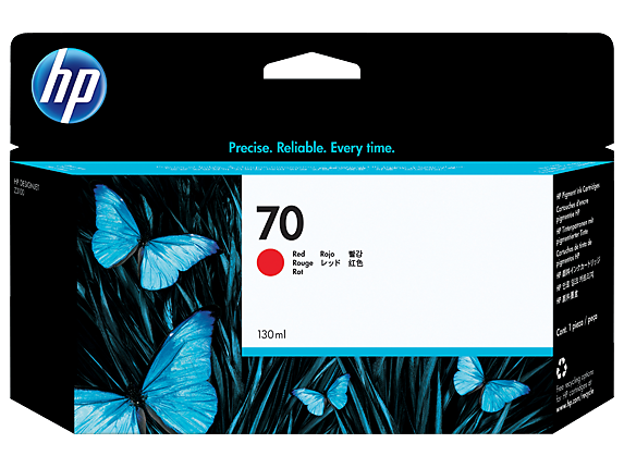 HP 70 130-ml Red DesignJet Ink Cartridge - Center