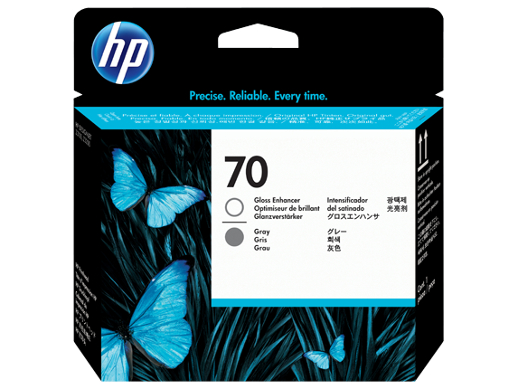 HP 70 Gloss Enhancer and Gray DesignJet Printhead