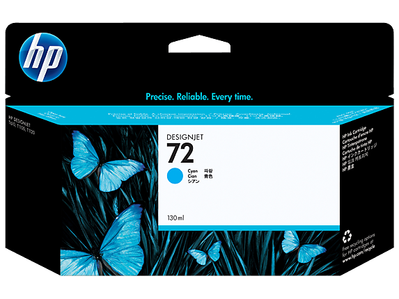 HP 72 130-ml Cyan DesignJet Ink Cartridge