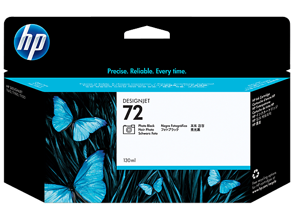 HP 72 130-ml Photo Black DesignJet Ink Cartridge, C9370A