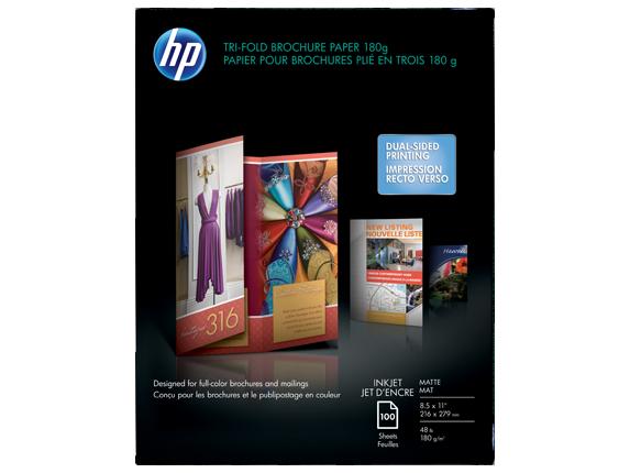 HP Inkjet Matte Tri-fold Brochure Paper 180 gsm-100 sht/Letter/8.5 x 11 in - Center
