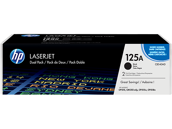 HP 125A 2-pack Black Original LaserJet Toner Cartridges, CB540AD