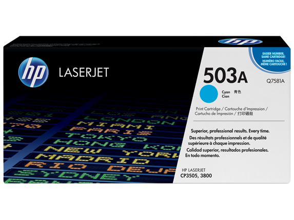 HP 503A Cyan Original LaserJet Toner Cartridge, Q7581A