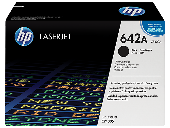 HP 642A Black Original LaserJet Toner Cartridge, CB400A
