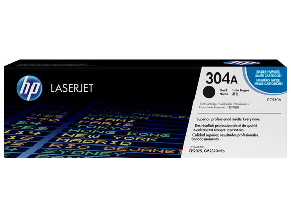 HP 304A Black Original LaserJet Toner Cartridge, CC530A