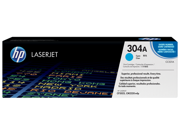 HP 304A Cyan Original LaserJet Toner Cartridge, CC531A