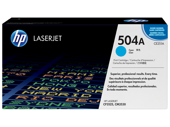 HP 504A Cyan Original LaserJet Toner Cartridge, CE251A - Center