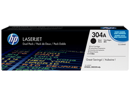 HP 304A 2-pack Black Original LaserJet Toner Cartridges, CC530AD