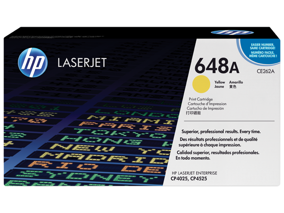 HP 648A Yellow Original LaserJet Toner Cartridge, CE262A