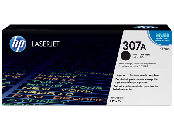 HP 307A Black Original LaserJet Toner Cartridge, CE740A