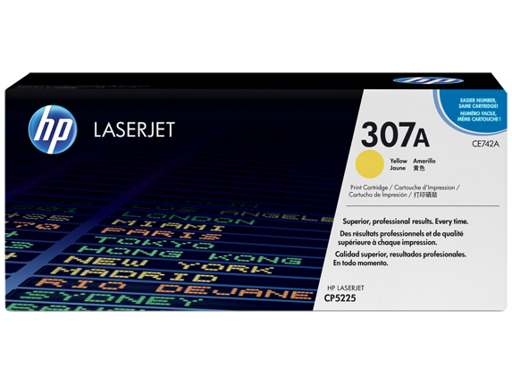 HP 307A Yellow Original LaserJet Toner Cartridge, CE742A - Center