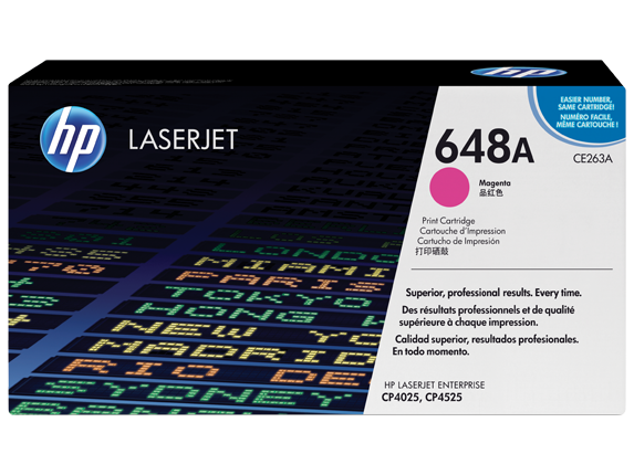 HP 648A Magenta Original LaserJet Toner Cartridge, CE263A - Center