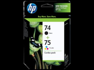 HP 74 Black/75 Tri-color 2-pack Original Ink Cartridges, CC659FN#140