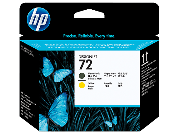 HP 72 Matte Black and Yellow DesignJet Printhead
