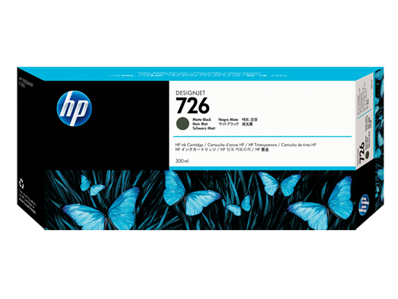 HP 726 300-ml Matte Black DesignJet Ink Cartridge - Center
